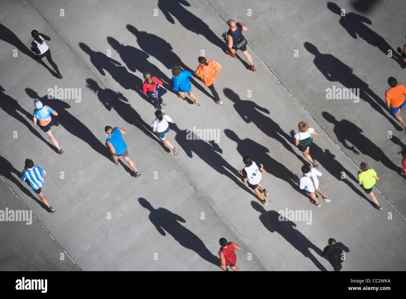 Stati Uniti d'America, New York New York City Marathon come visto da sopra Immagini Stock