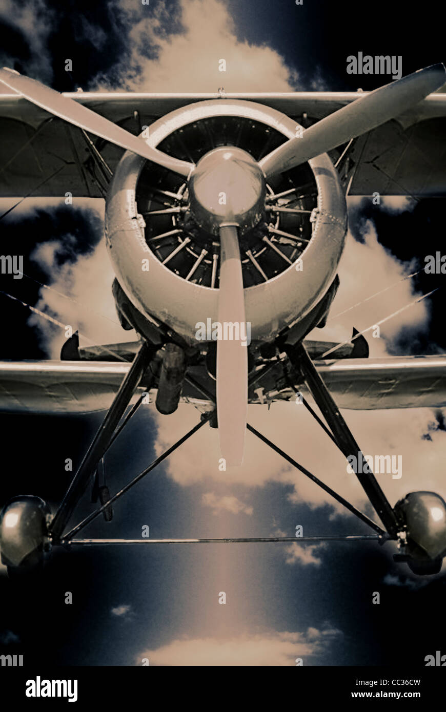 Vista frontale di un biplano Immagini Stock