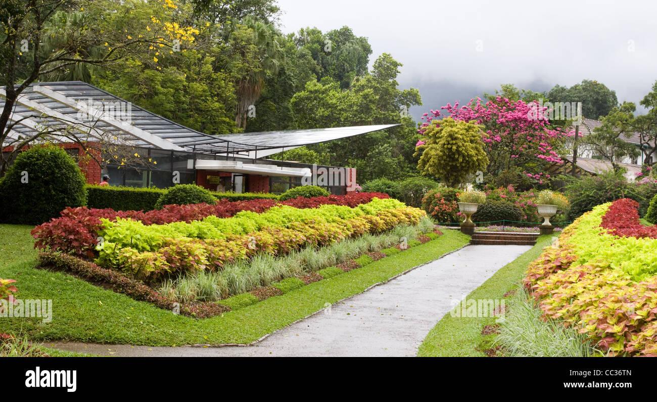 Percorso per la casa delle orchidee a Peradeniya Botanic Gardens, Kandy, Sri Lanka Foto Stock