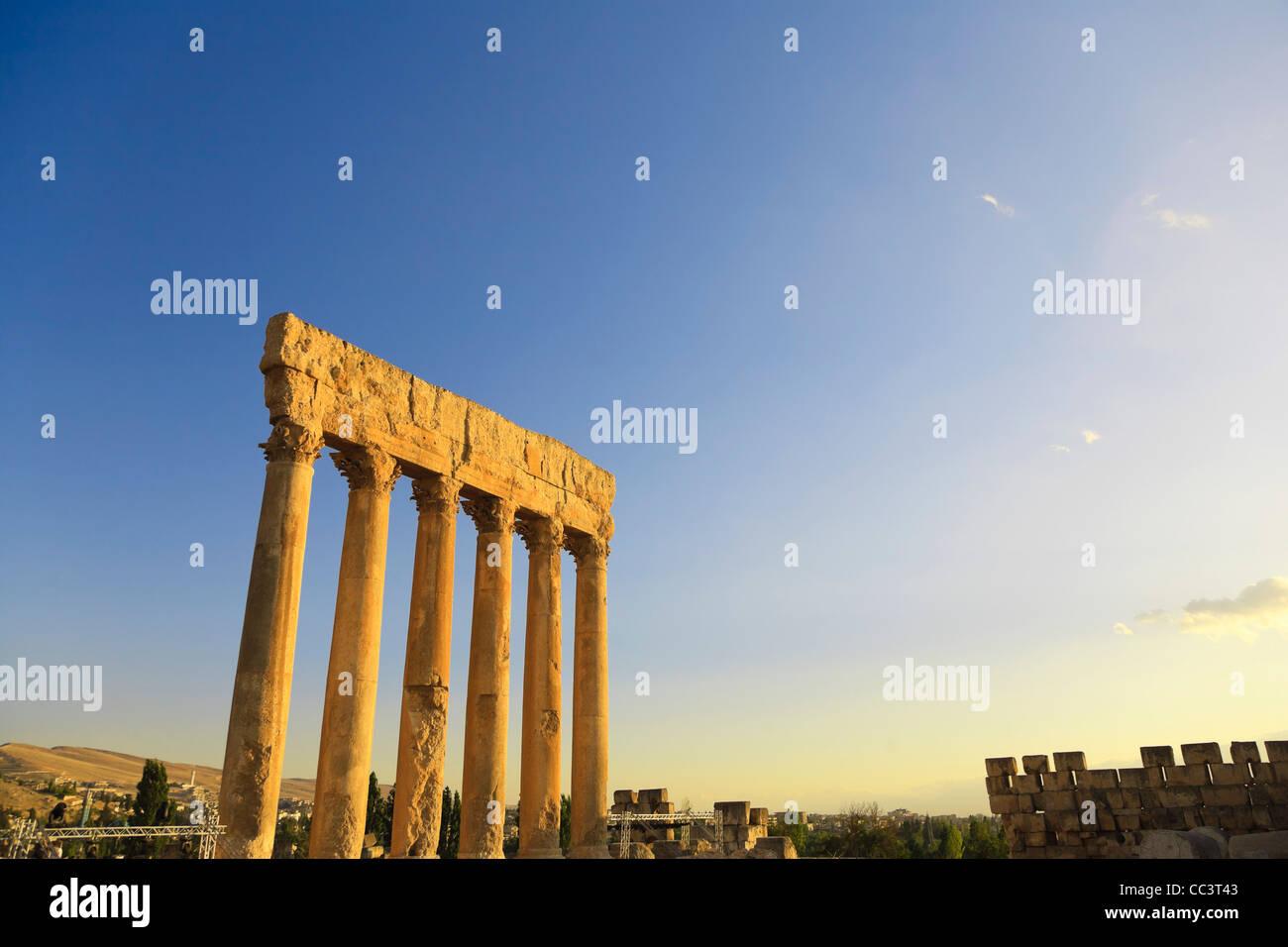 Il Libano, Baalbek, Tempio di Giove Immagini Stock