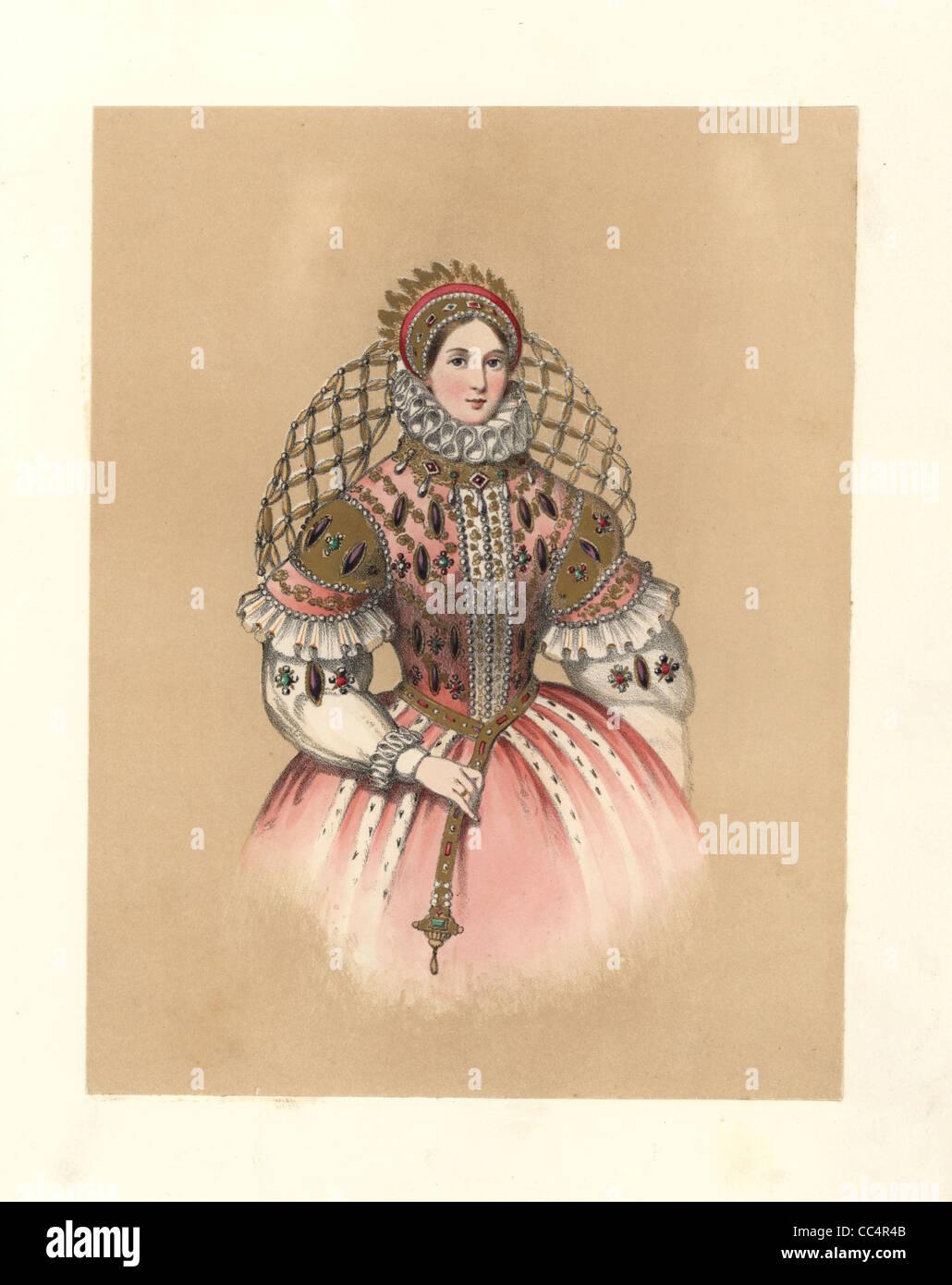 Abito del regno della regina Elisabetta I, 1558~1603. Immagini Stock