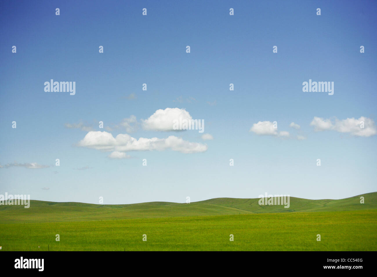 Paesaggio di Jinzhanghan tribe mongolo, Hulun Buir prateria, Manzhouli, Hulunbuir, Mongolia Interna Regione Autonoma, Immagini Stock