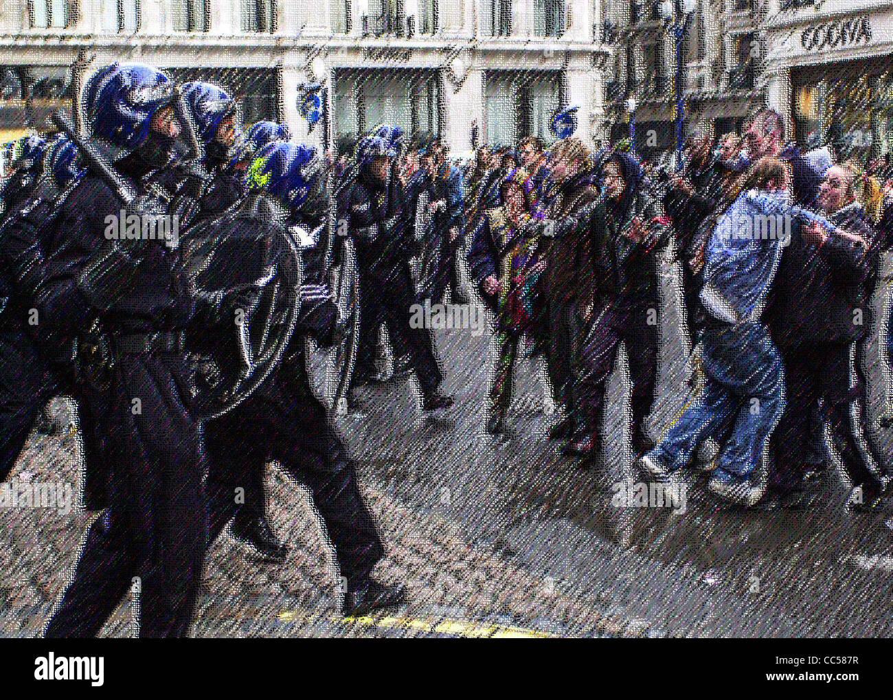 Illustrazioni generiche di British Riot Police in azione le immagini trattate per evitare di identificazione MR Immagini Stock