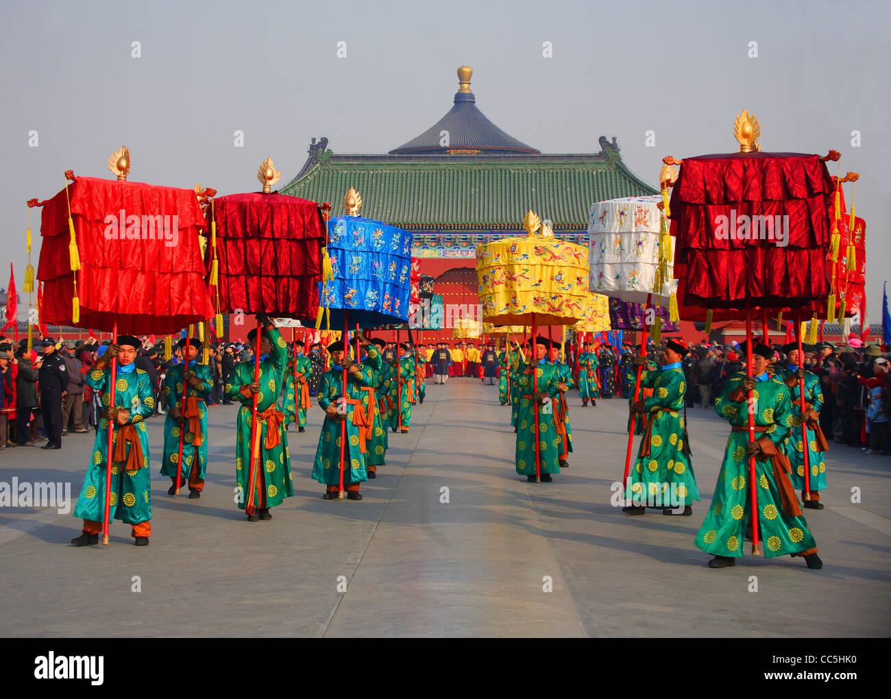 Adorando il cielo cerimonia al Tempio del Paradiso, Pechino, Cina Immagini Stock