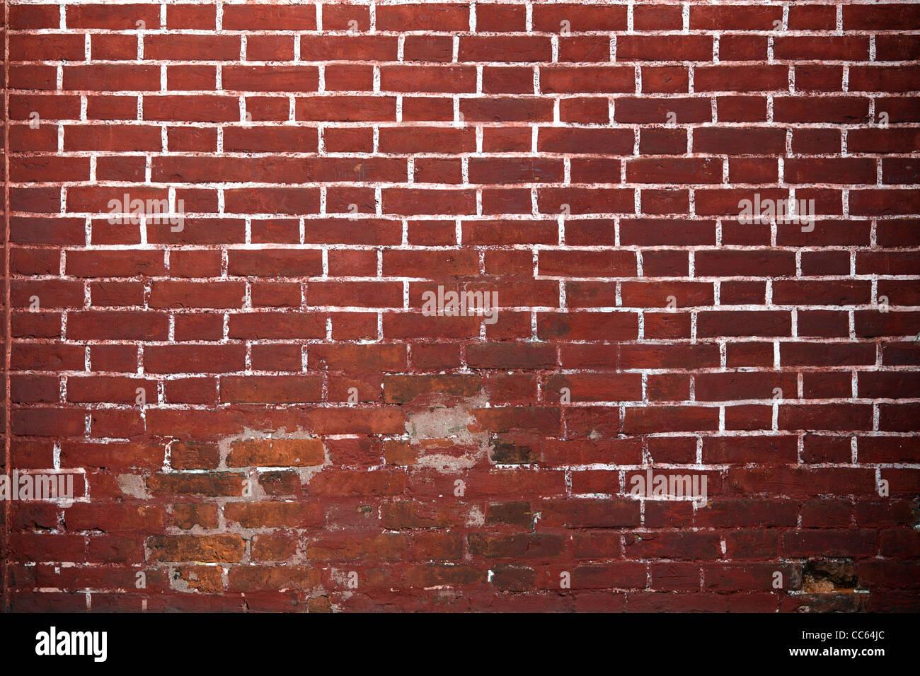 Rosso vecchio muro di mattoni in background. Immagini Stock