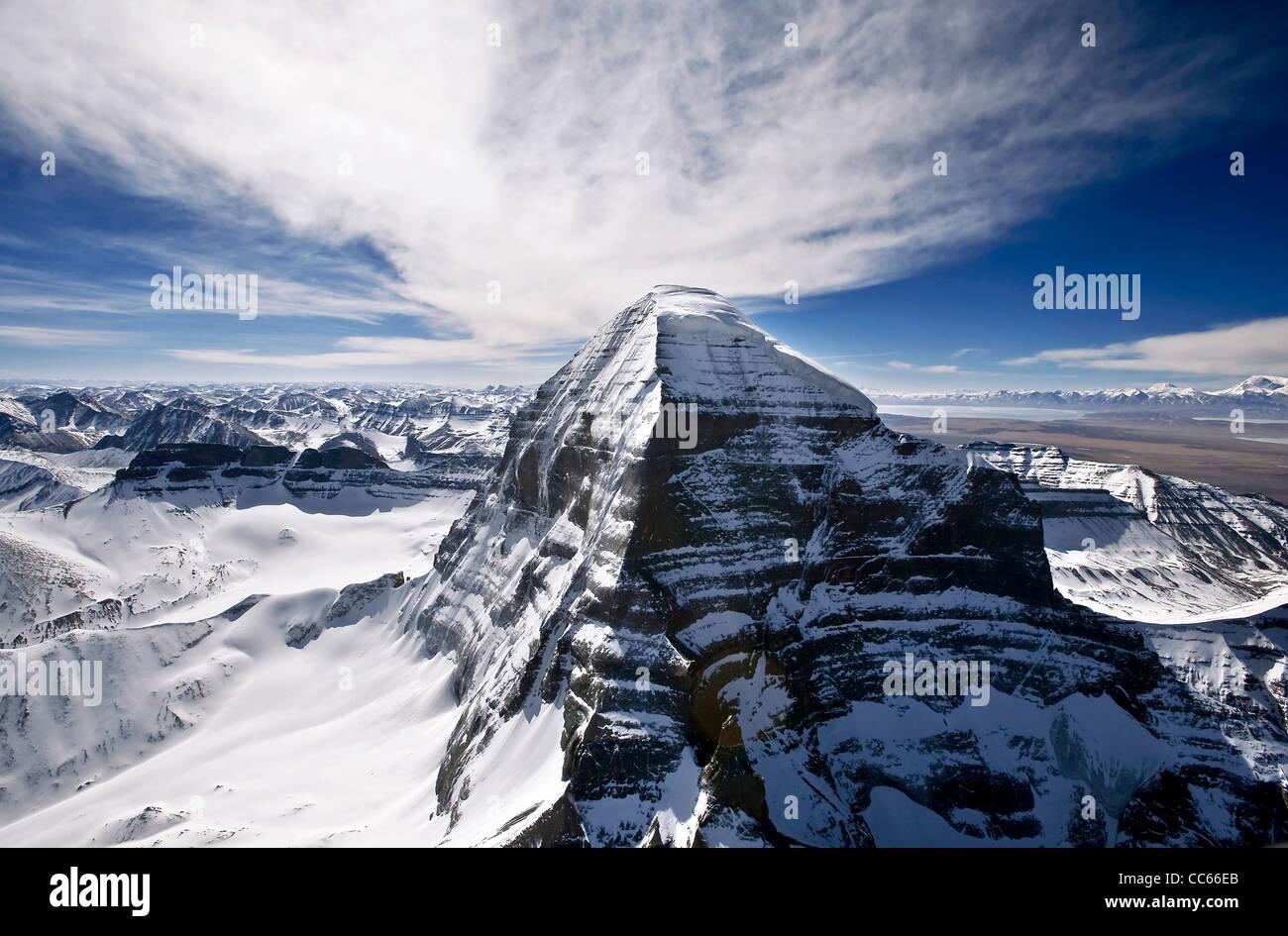 Il Santo Kangrinboqe picco, Ngari, Tibet, Cina Immagini Stock