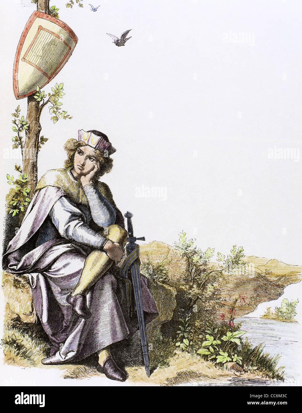 Medioevo. Il principe. Incisione presso 'Germania', 1882. Colorati. Immagini Stock