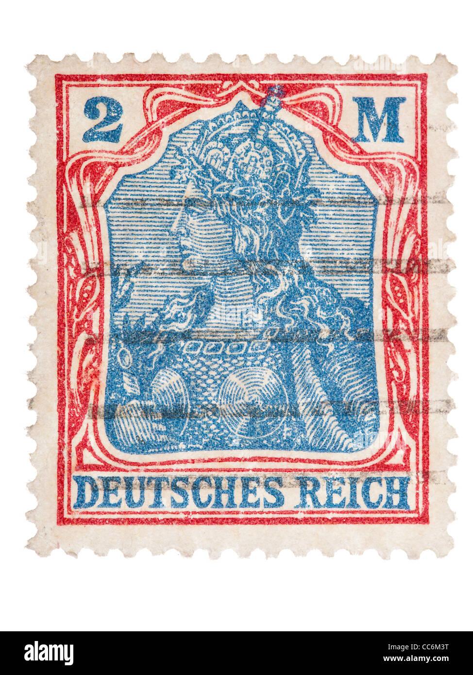 Francobollo: impero tedesco, Germania, 1920, 2 mark, stampigliato Immagini Stock