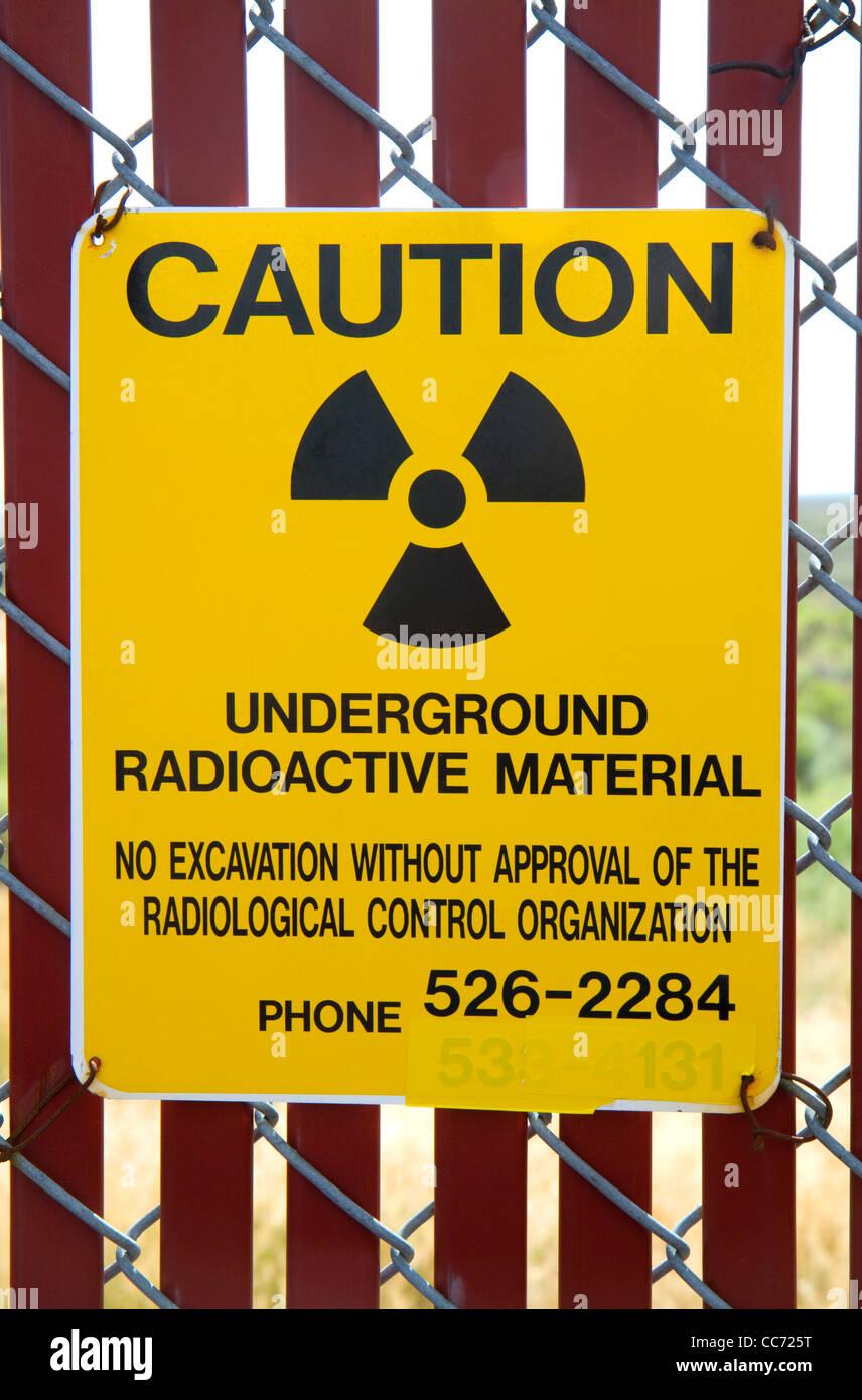 Radiazione segno di attenzione al EBR-ho disattivato la ricerca reattore nucleare museo atomica situata vicino ad Immagini Stock