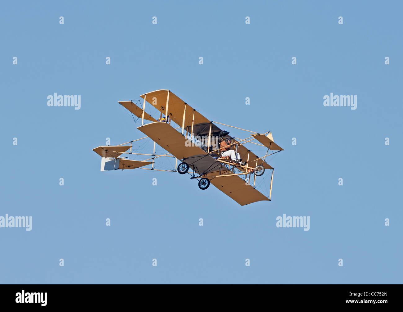 Replica di un 1911 Ely-Curtiss spintore Modello D biplano Immagini Stock