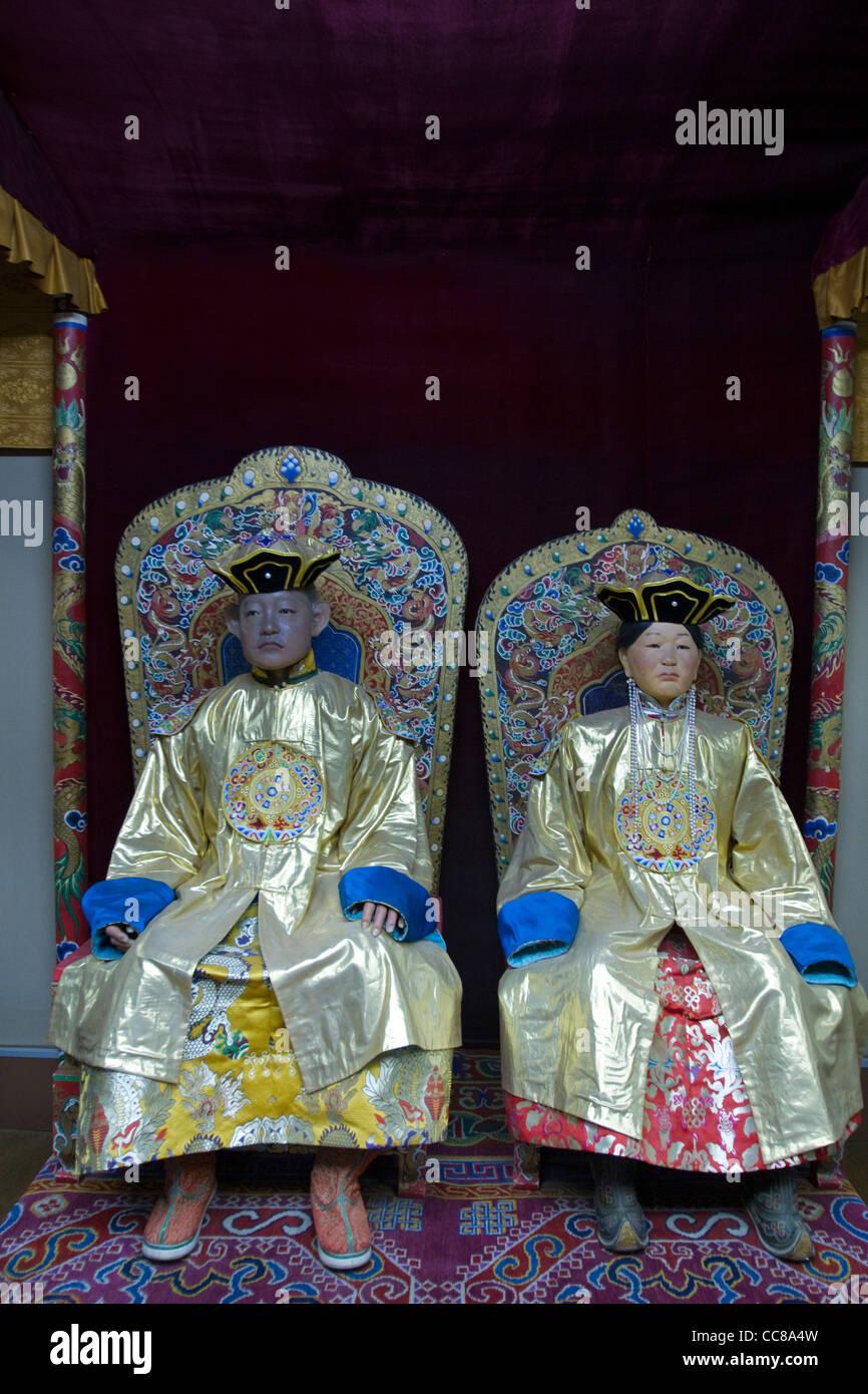 Royal costumi mongola il Museo Nazionale di Storia mongola Ulaanbaatar in Mongolia Immagini Stock