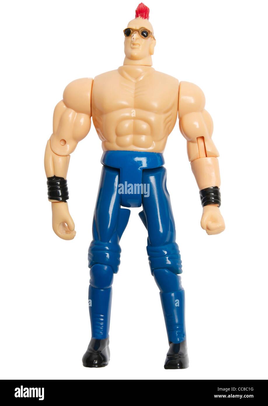 Il lottatore azione figura giocattolo su sfondo bianco Immagini Stock