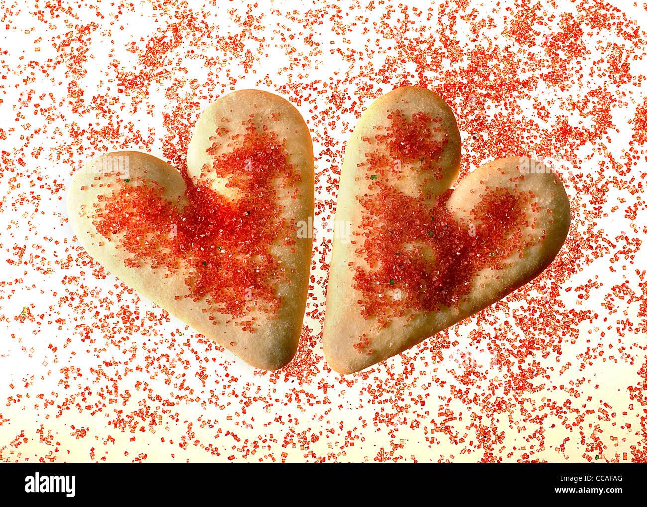 A forma di cuore i cookie Immagini Stock