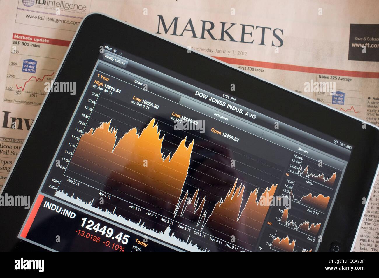 11177a1ecf Utilizzando l'iPad per mostrare il mercato azionario i dati utilizzando un'applicazione  finanziaria