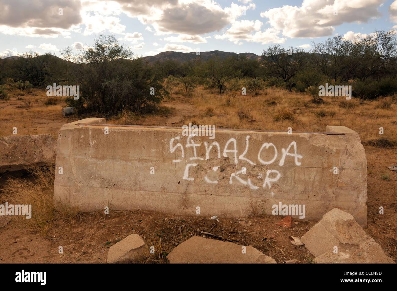 I riferimenti al contrabbando e il cartello di Sinaloa si trovano lungo un ben noto percorso di contrabbando in Immagini Stock