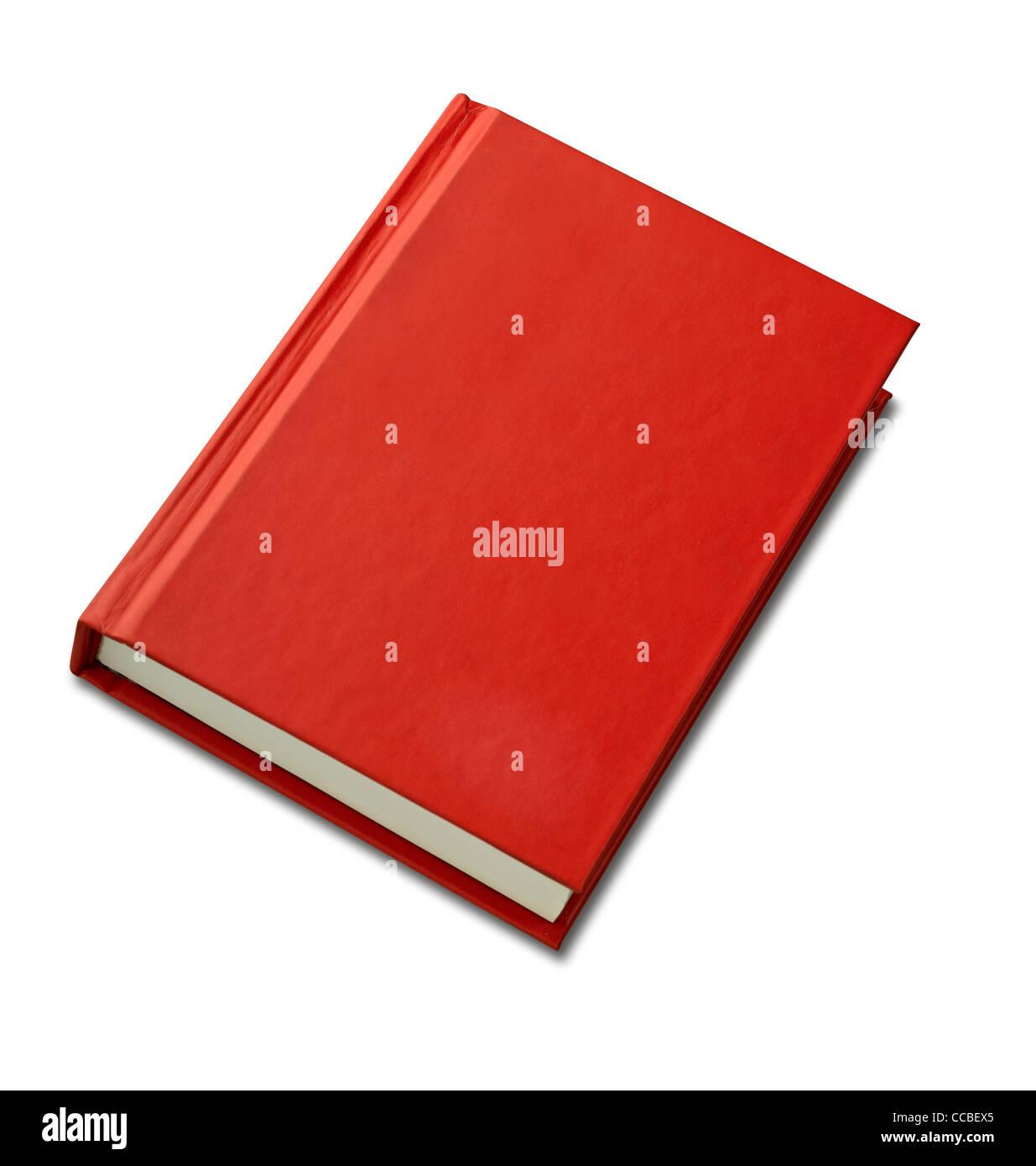 Vuoto hardback rosso per la copertina del libro pronto per il testo o la grafica isolato su bianco Immagini Stock