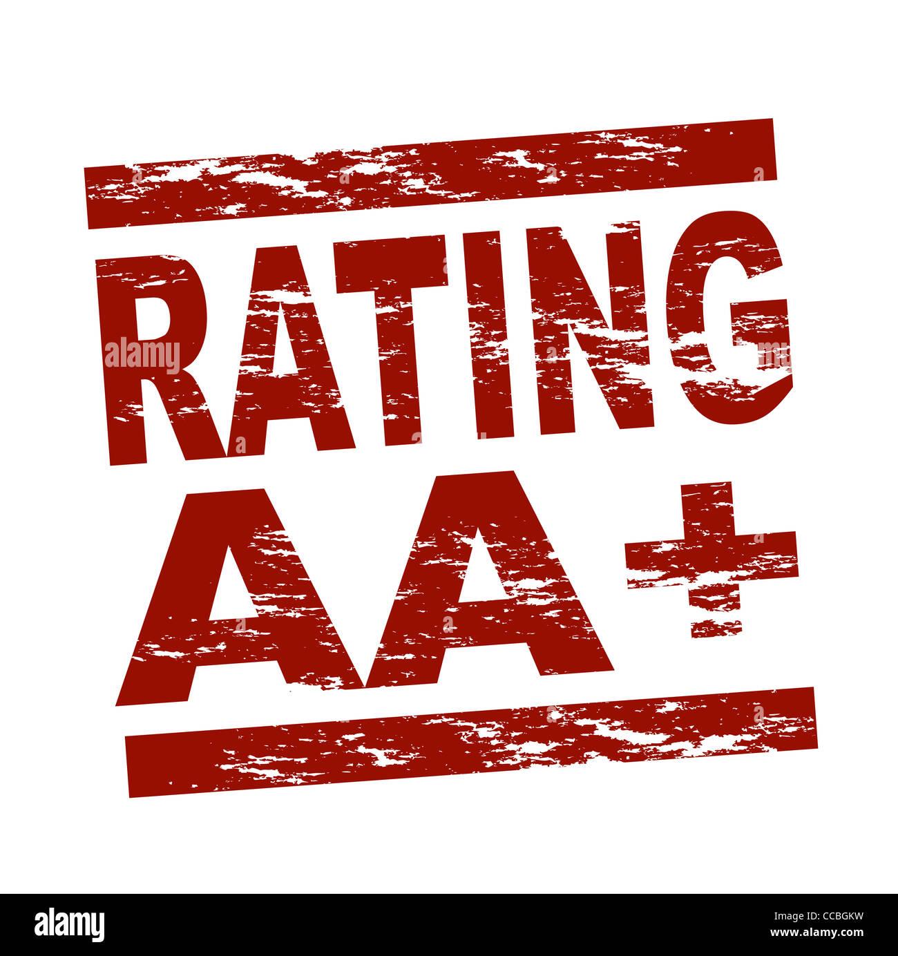 Stilizzata Francobollo Rosso Mostra Il Termine Rating Aa Tutto Su