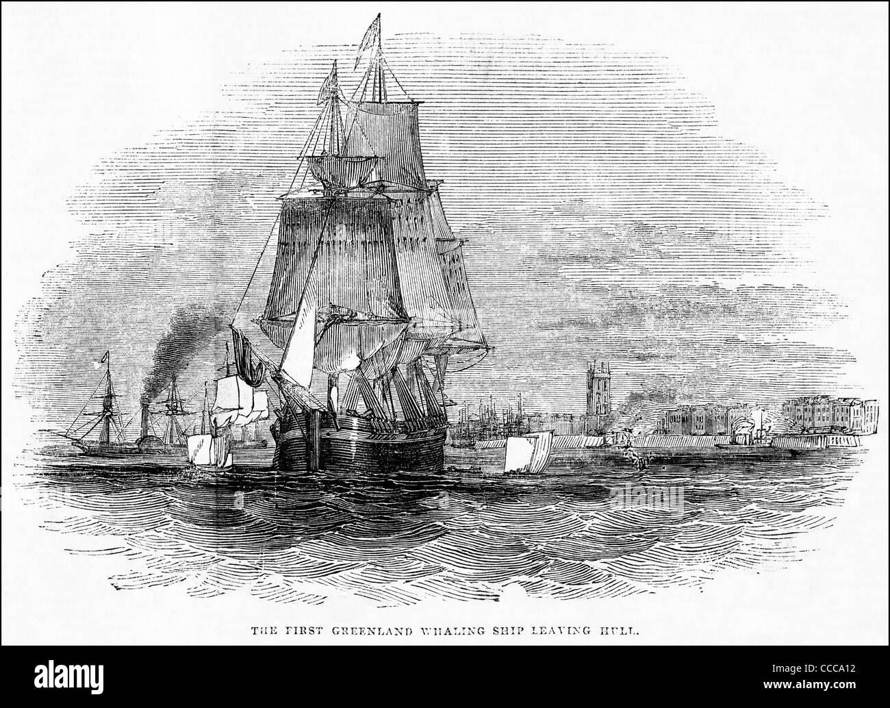 Incisione vittoriano circa 1844 della caccia alla balena nave che lascia il porto di Hull Inghilterra UK per la Foto Stock