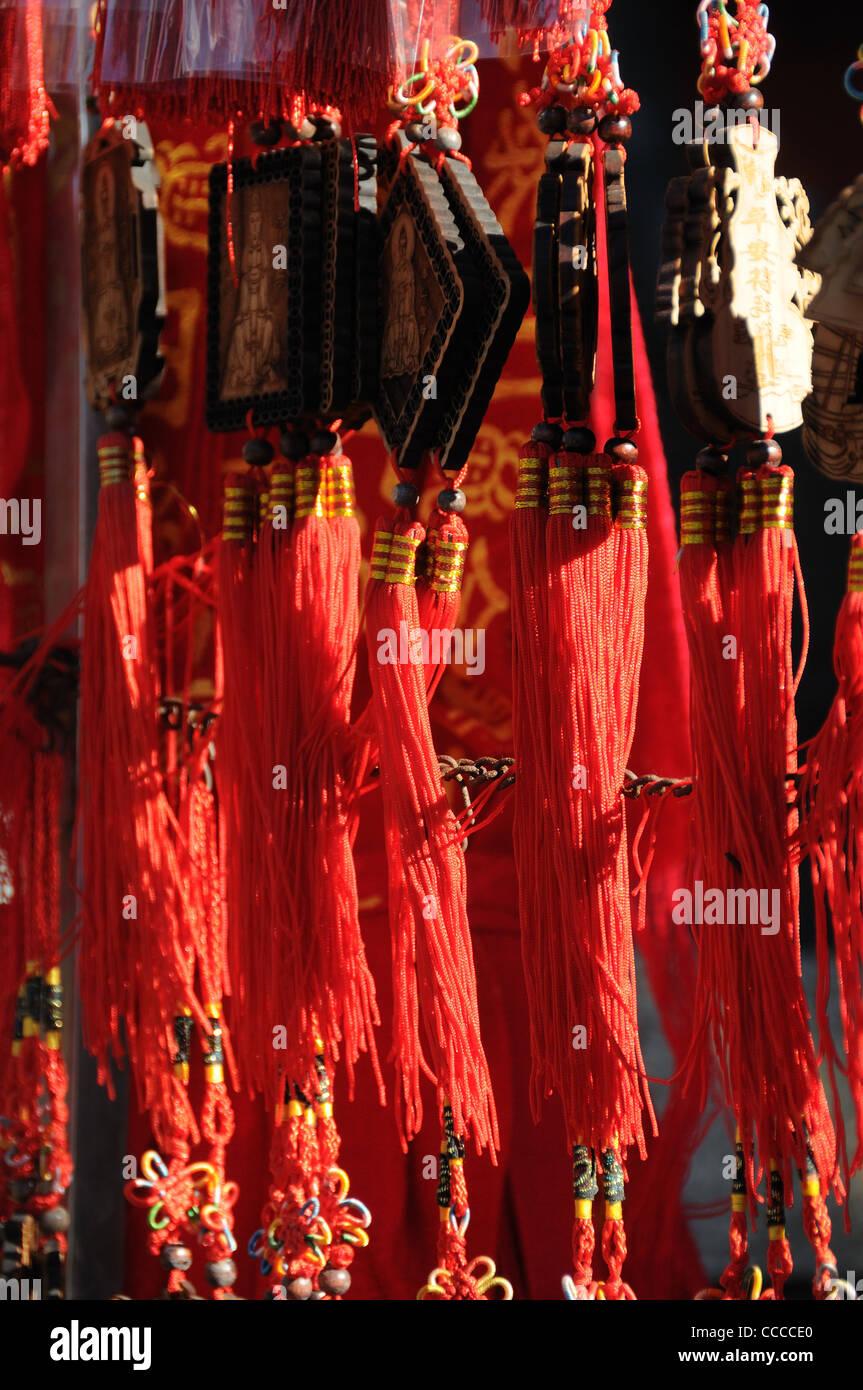 Il feng shui nappe sul desiderio token a un tempio Immagini Stock