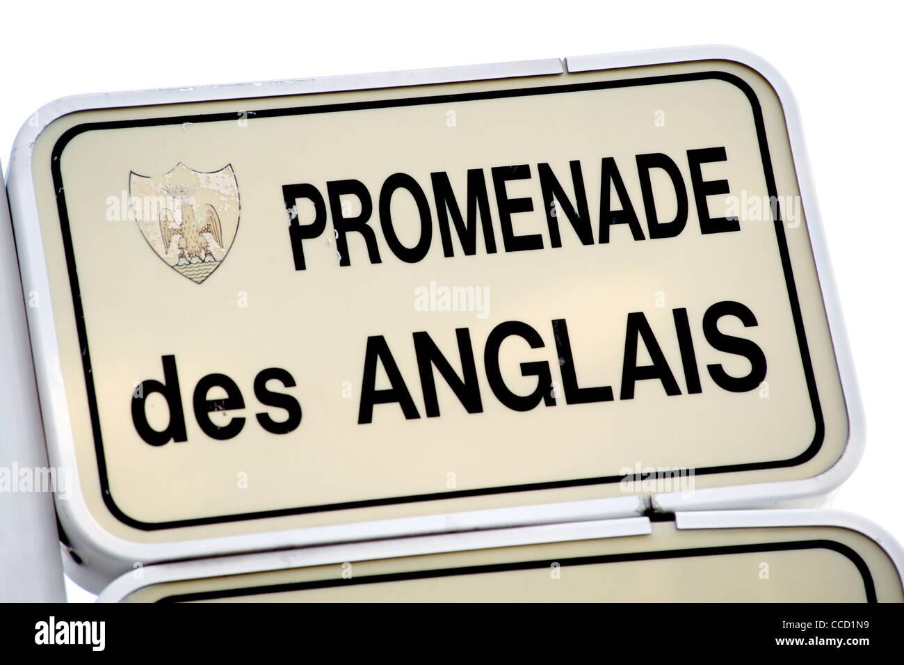 Segno per la Promenade Des Anglais di Nizza sulla costa mediterranea nel sud della Francia. Immagini Stock