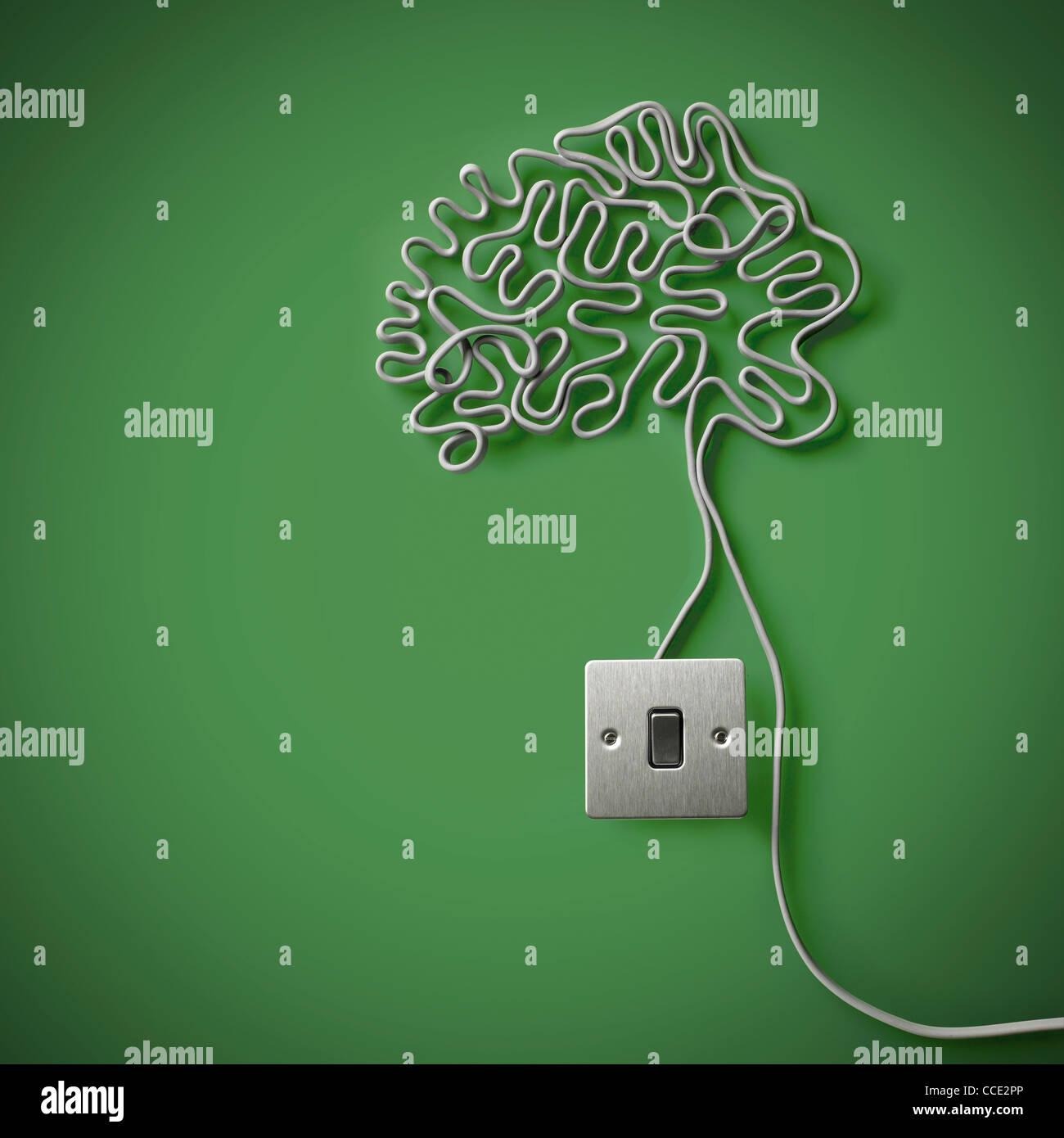 Il cervello umano realizzato dal grigio cavo di energia elettrica con un interruttore della luce Immagini Stock