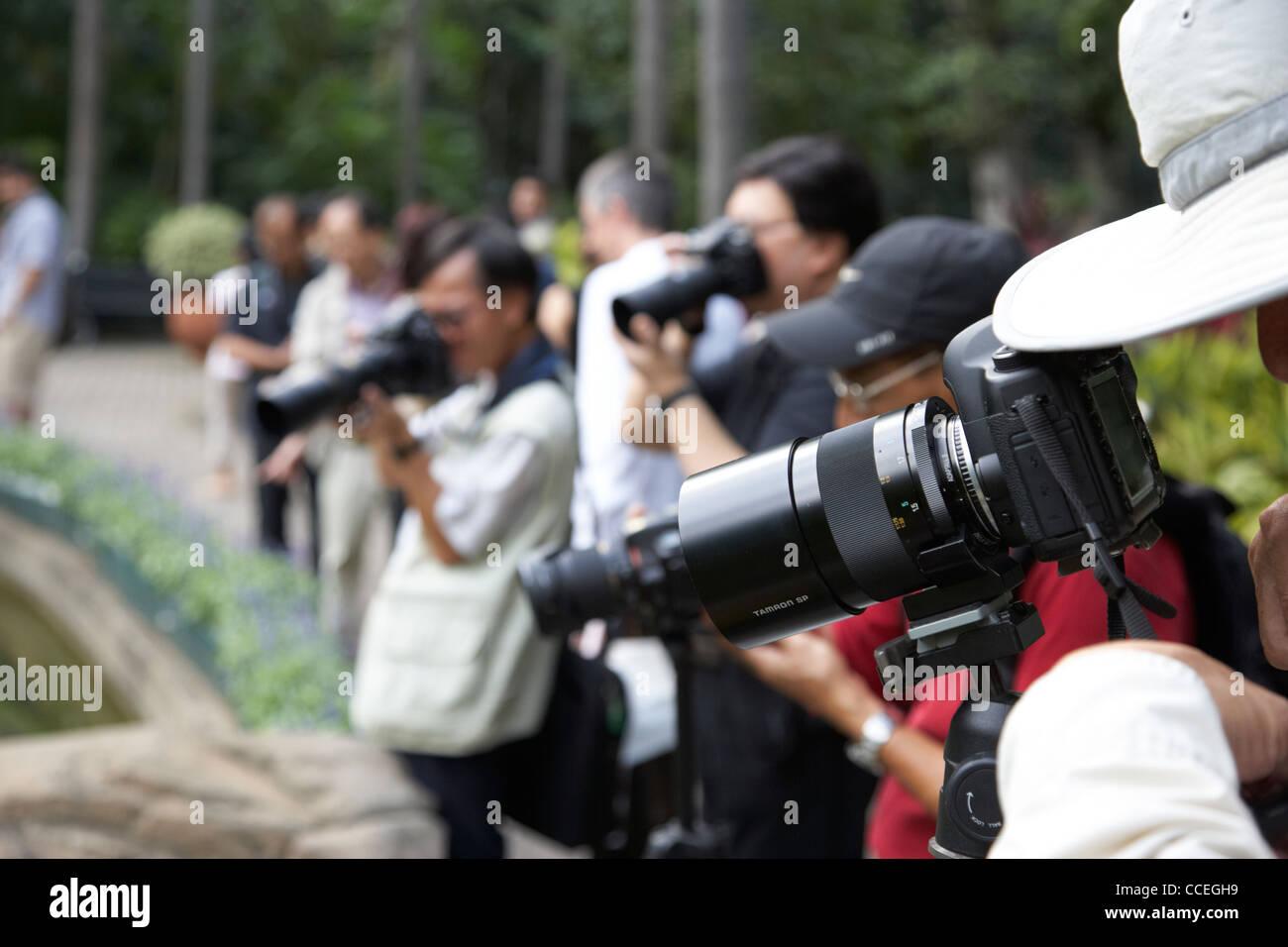Fila di fotografi cinesi utilizzando teleobiettivi di hong kong park central RAS di Hong kong cina asia Immagini Stock