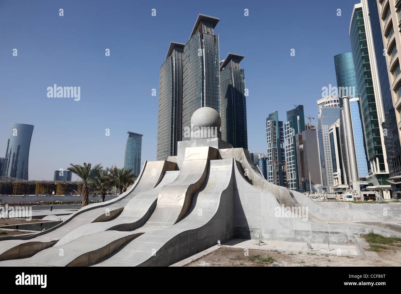 Nuovo centro di quartiere West Bay a Doha, in Qatar Immagini Stock