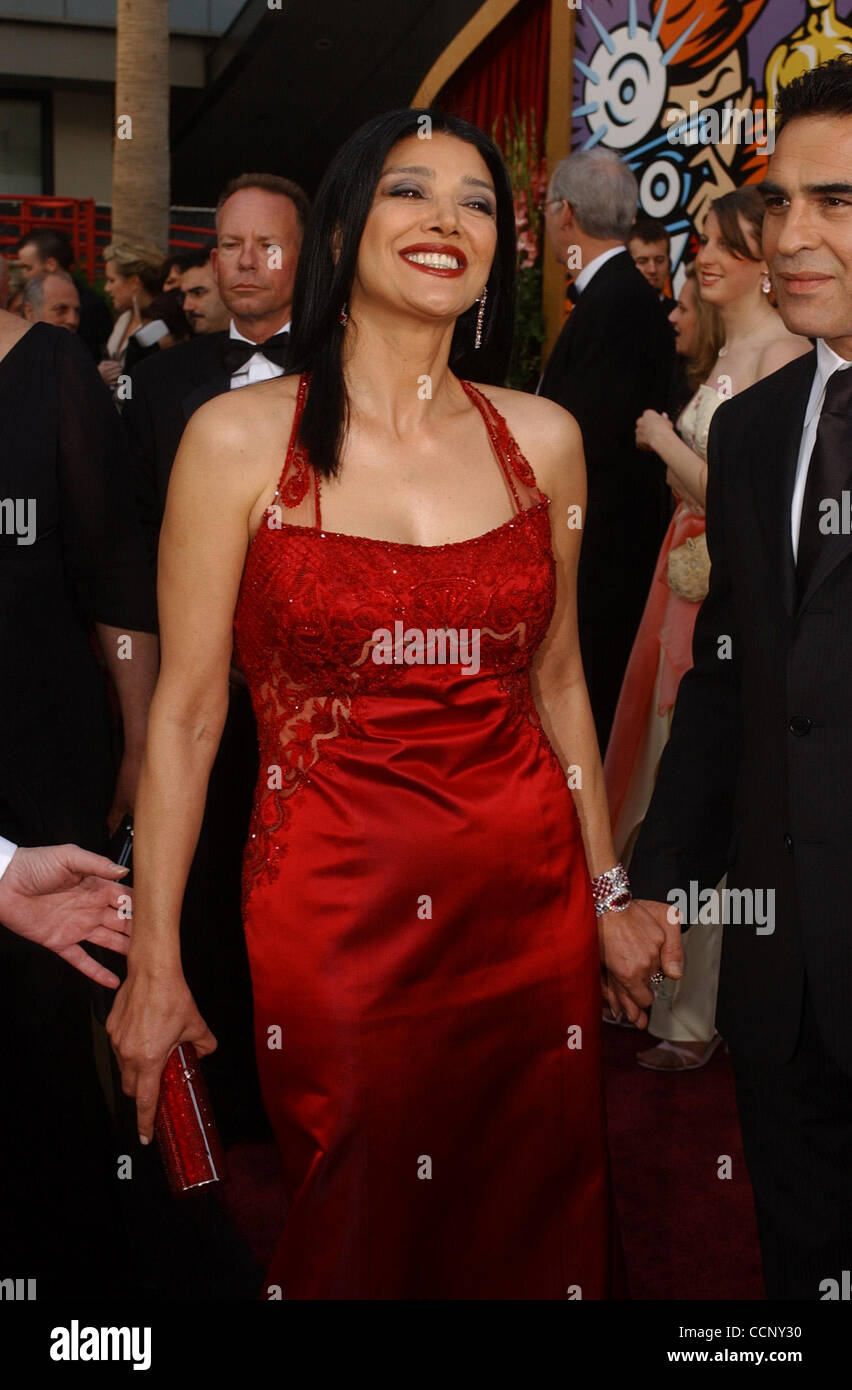Feb 29, 2004; Hollywood, CA, Stati Uniti d'America; OSCARS 2004: attrice SHOHREH AGHDASHLOO arrivando al 76th annuale di Academy Awards tenutosi presso il Teatro Kodak. Foto Stock