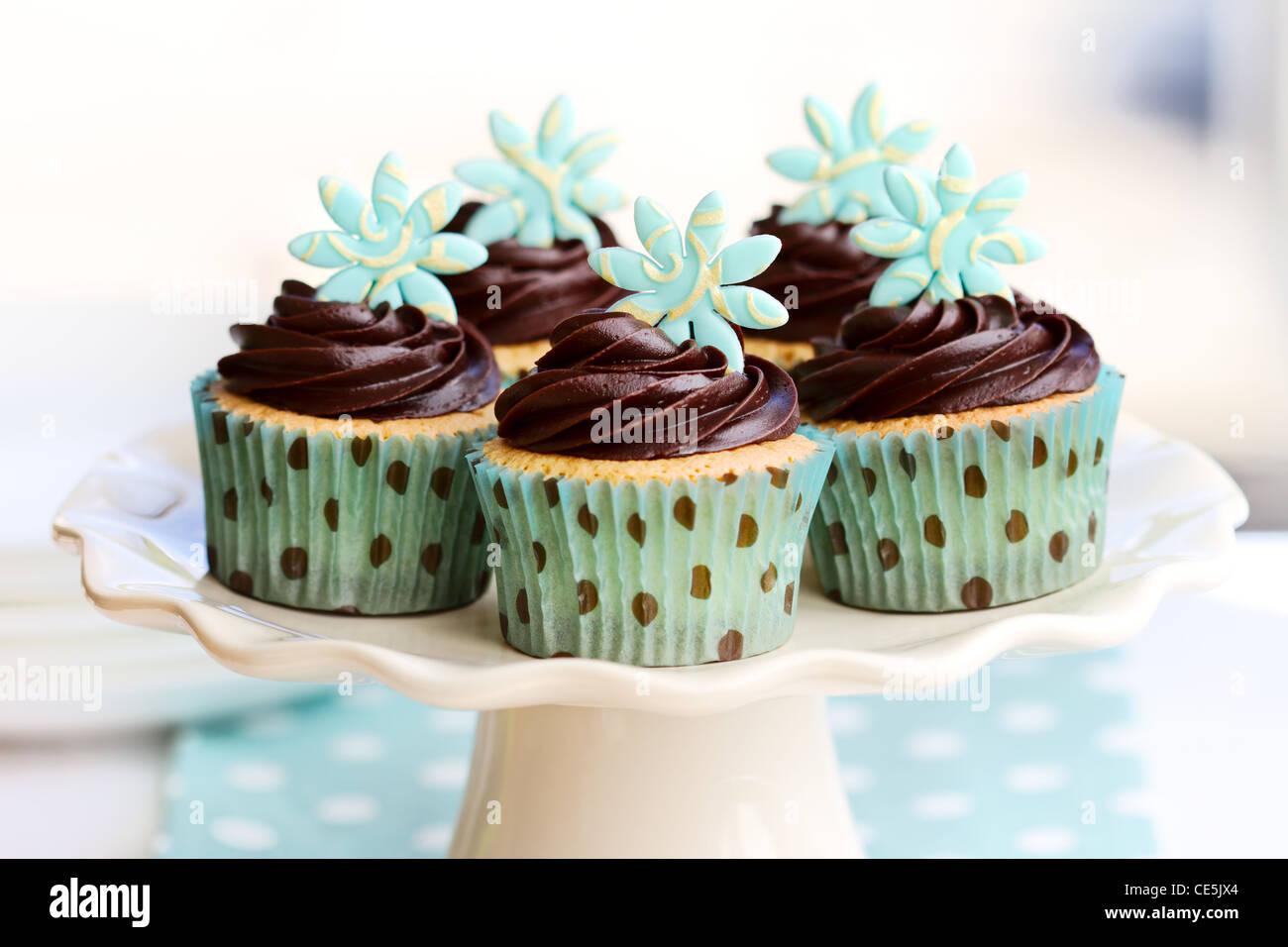 Tortini di cioccolato Immagini Stock