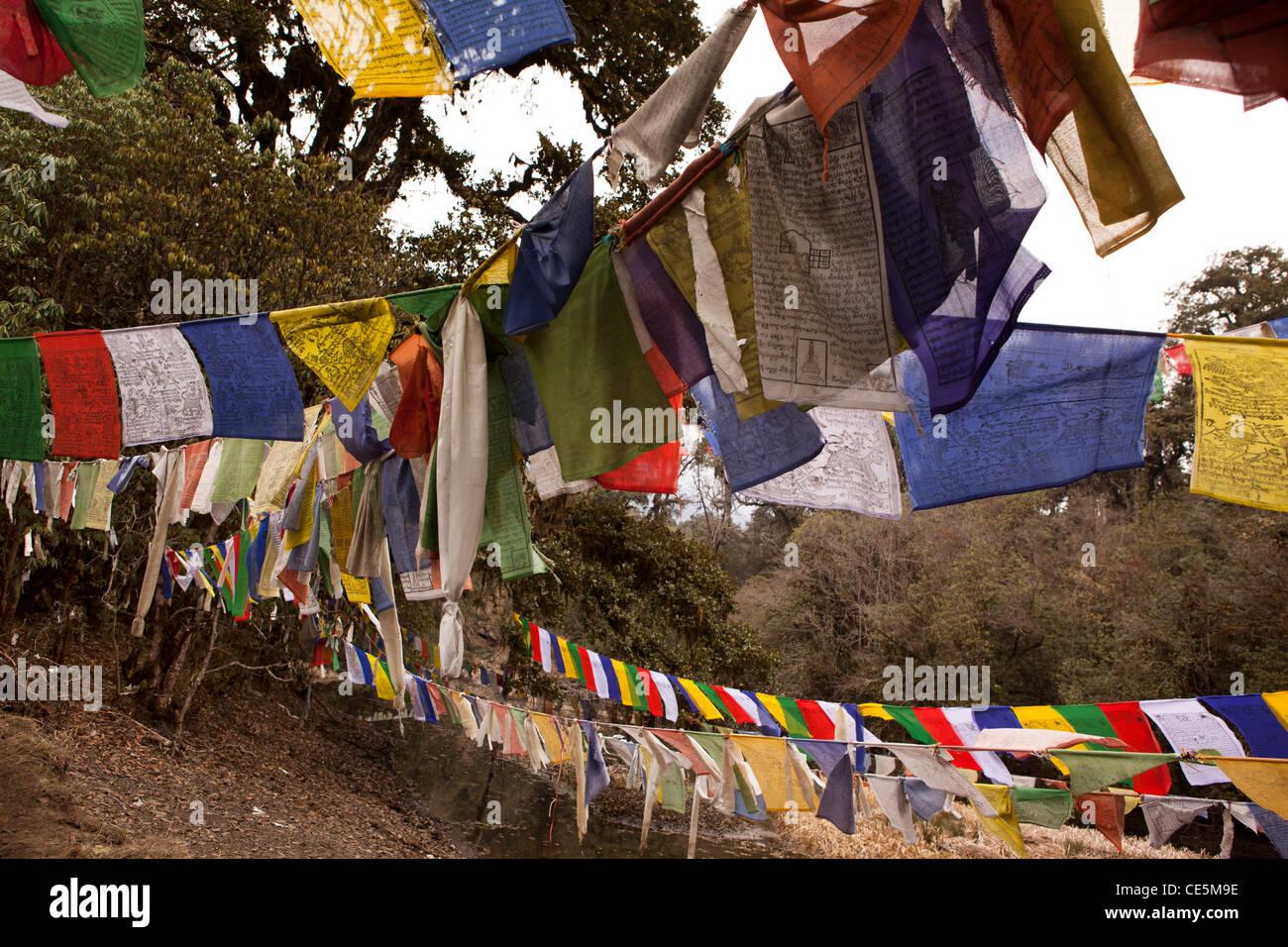 India, Arunachal Pradesh, Tawang, Thongmen Gompa, colorati bandiere di preghiera Immagini Stock