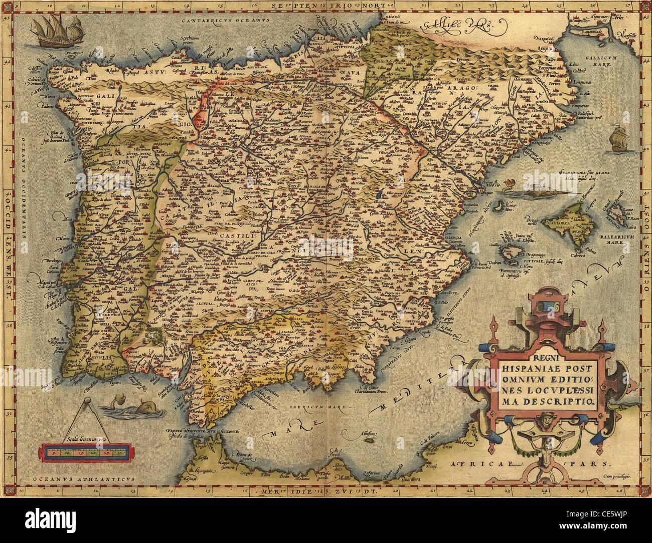 Cartina Spagna Antica.Antica Mappa Della Spagna Di Abraham Ortelius Circa 1570 Di Dominio Pubblico Foto Stock Alamy