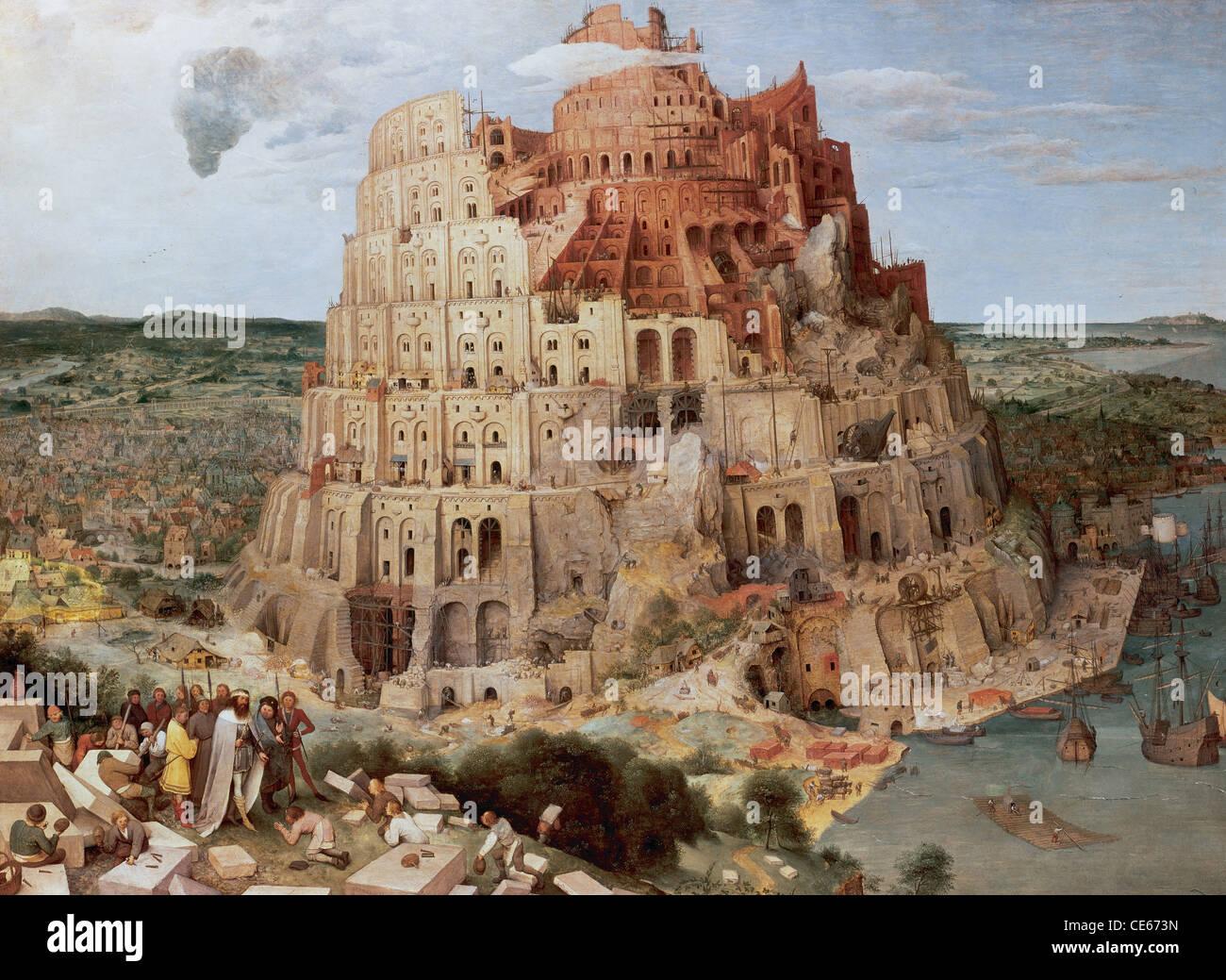 Pieter Bruegel (Brueghel) Il Sambuco (c. 1525-1569). La torre di Babele (c. 1563). Olio su pannello. Immagini Stock
