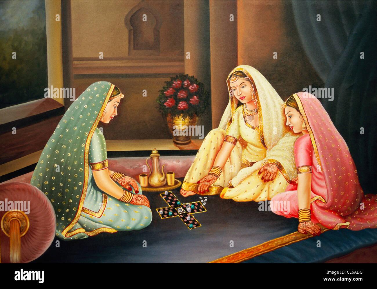 Pittura Di Olio su tela donne gioca ludo chopad gioco Immagini Stock