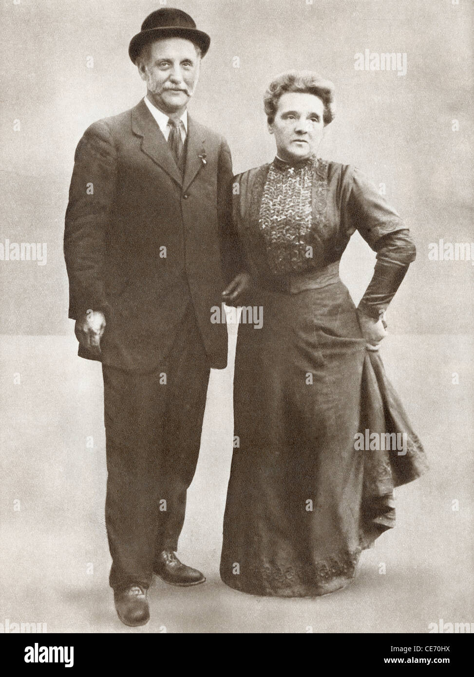 George Lansbury, 1859 - 1940 con Lansbury Mrs. Uomo politico britannico, socialista, Christian pacifista e editor Immagini Stock