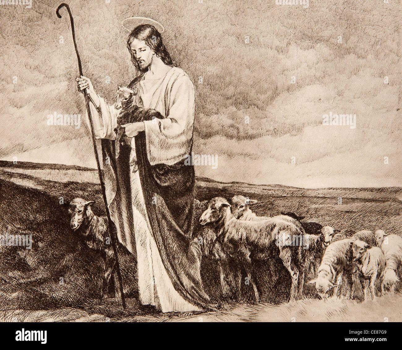 Buon Pastore - vecchio litografia Immagini Stock