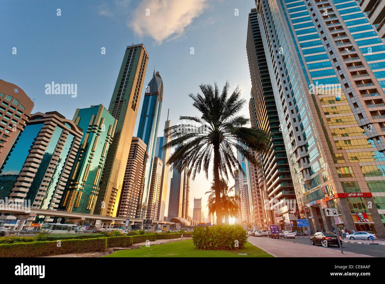 Asia, Arabia, Emirato di Dubai, Dubai Sheikh Zayed Road Immagini Stock