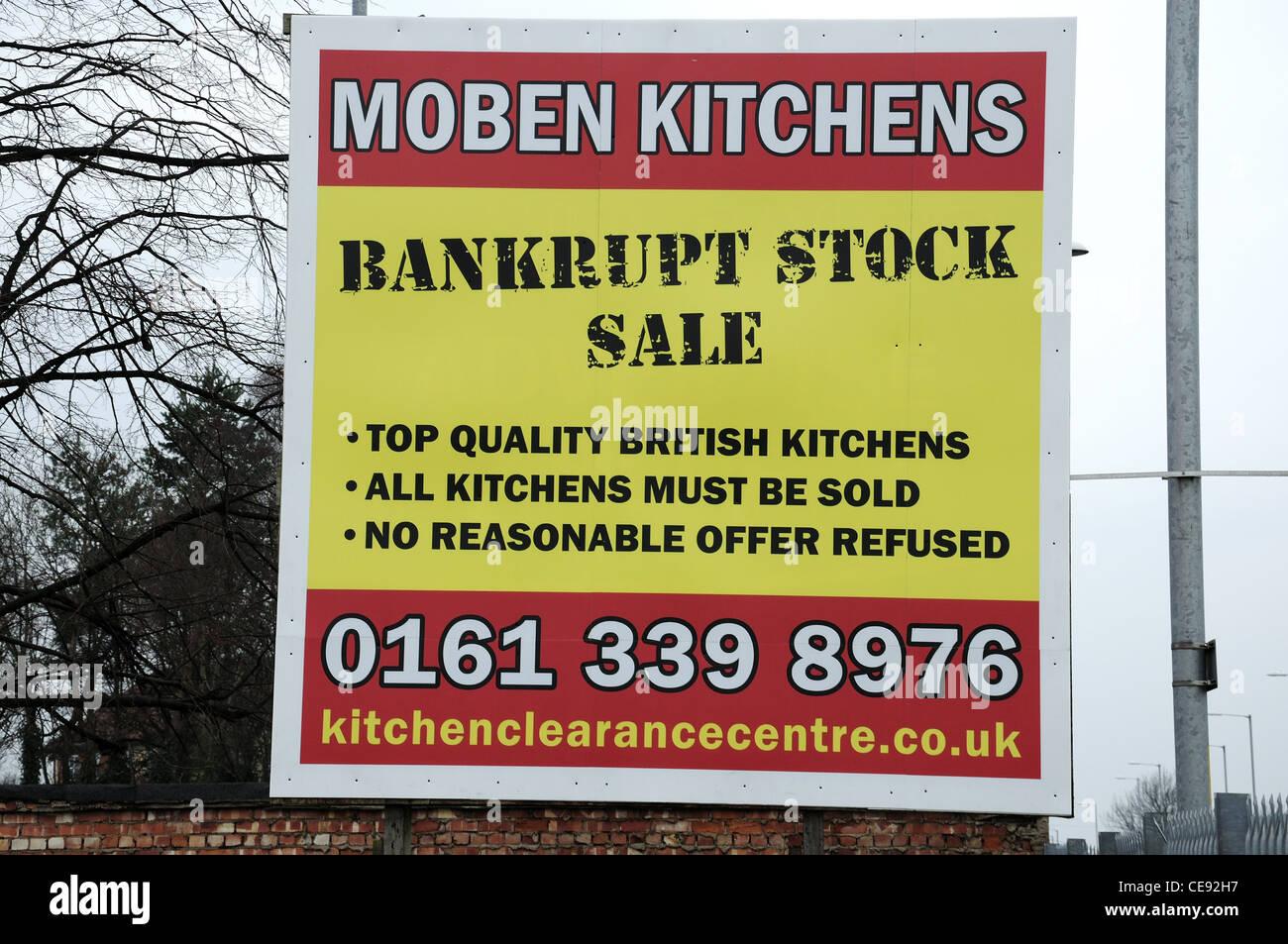 In bancarotta magazzino di vendita segno Immagini Stock