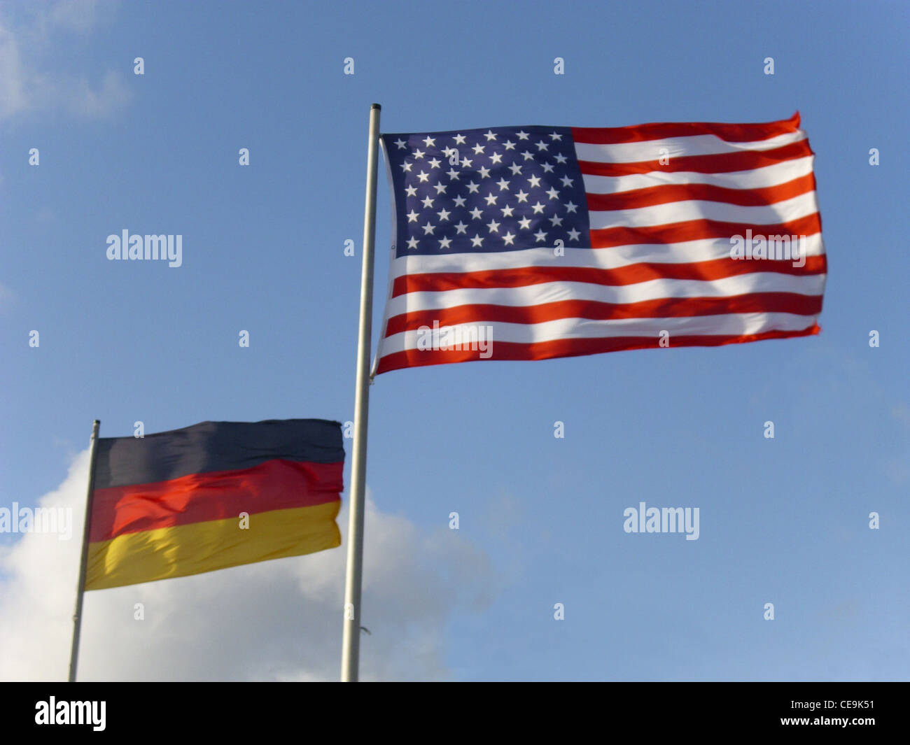 Bandiere degli Stati Uniti d'America e la Repubblica federale di Germania Immagini Stock