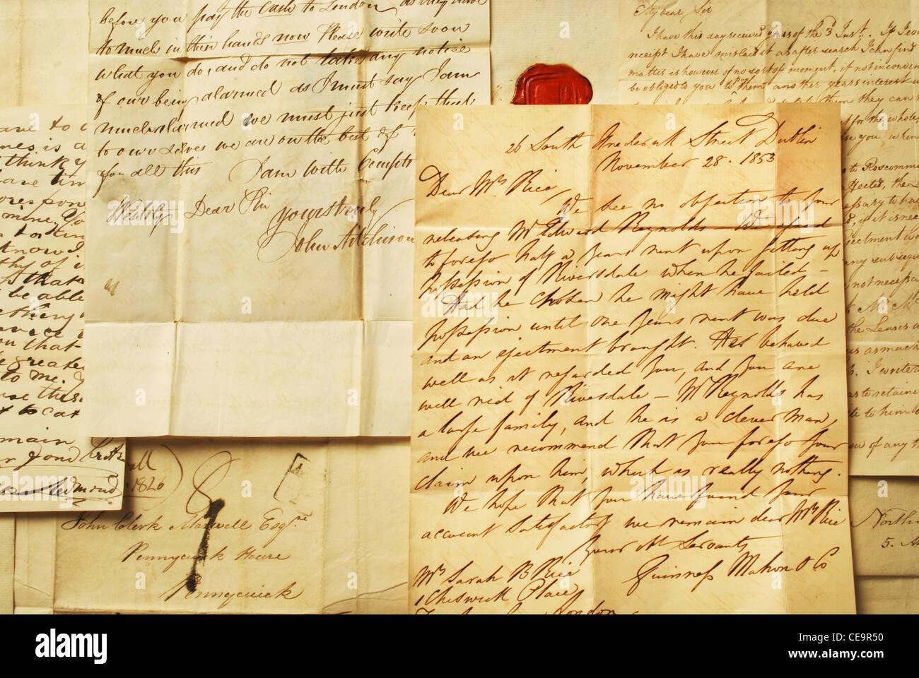 Vecchio lettere elegante calligrafia Immagini Stock