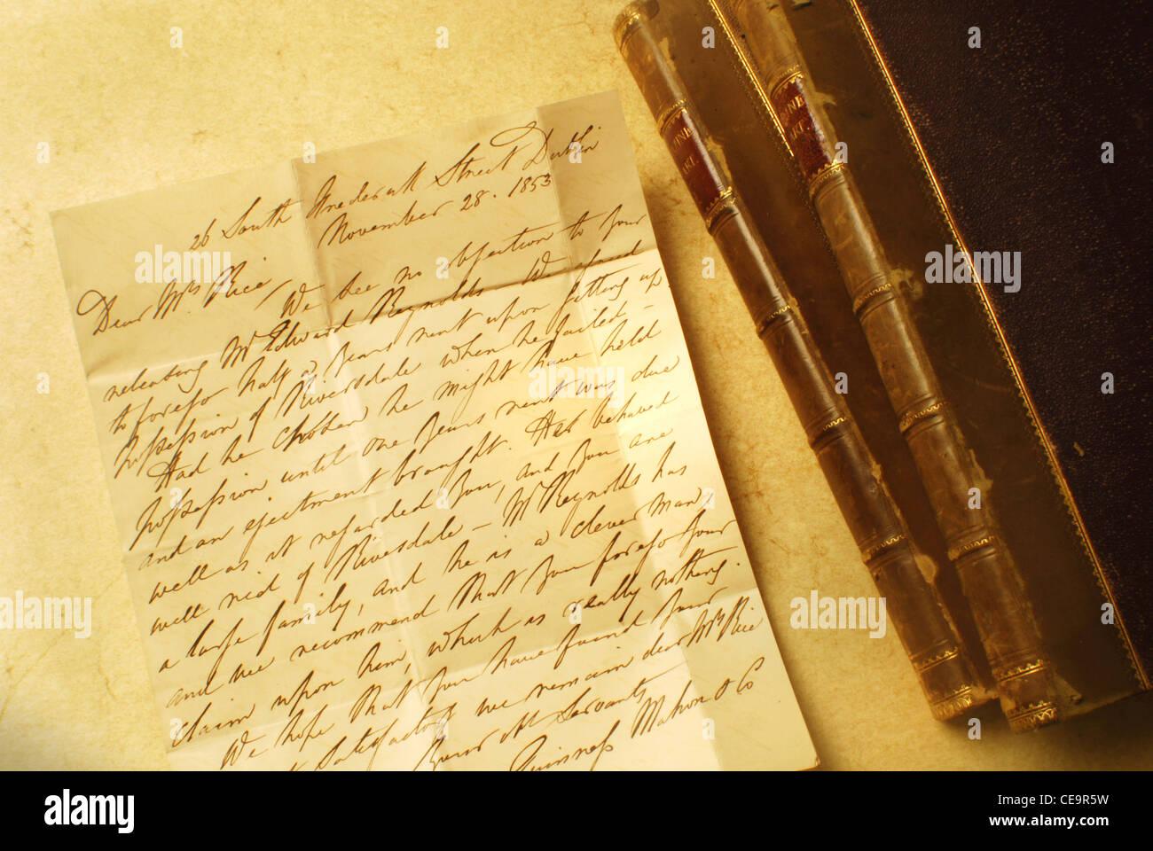 Vecchia lettera elegante calligrafia Immagini Stock
