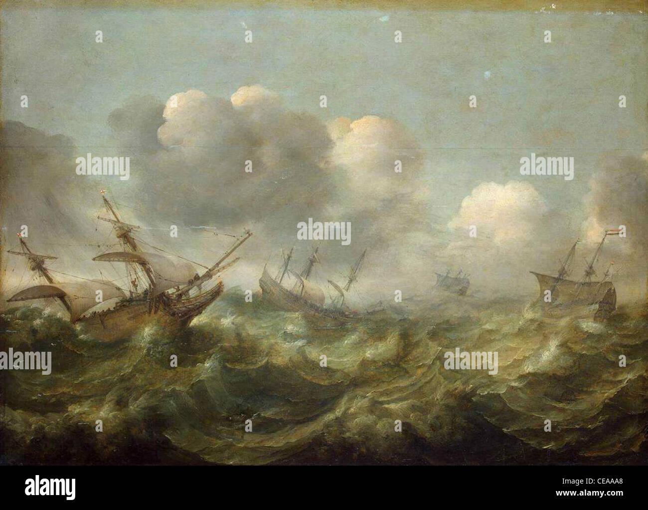 Egli ha dipinto mare tempestoso dal pittore olandese abraham willaerts (1603-1669). olio su pannello, 85 x 114 cm, Immagini Stock
