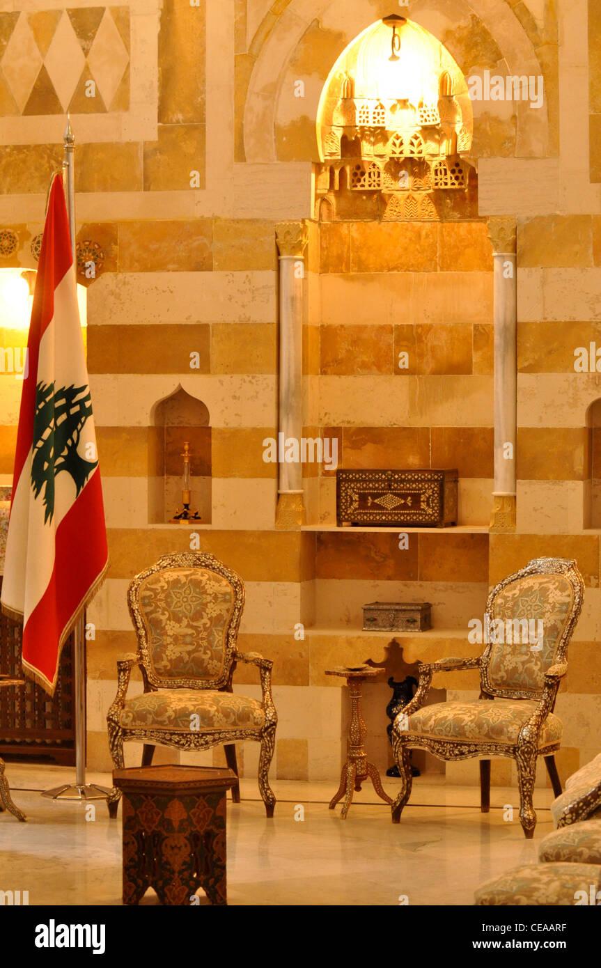 Beiteddine palazzo presidenziale, Libano: l'ufficio del presidente Immagini Stock