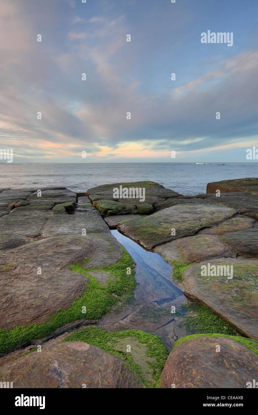 Crepuscolo sopra Whitley Bay North Tyneside, Tyne and Wear, Northumberland, Inghilterra Immagini Stock