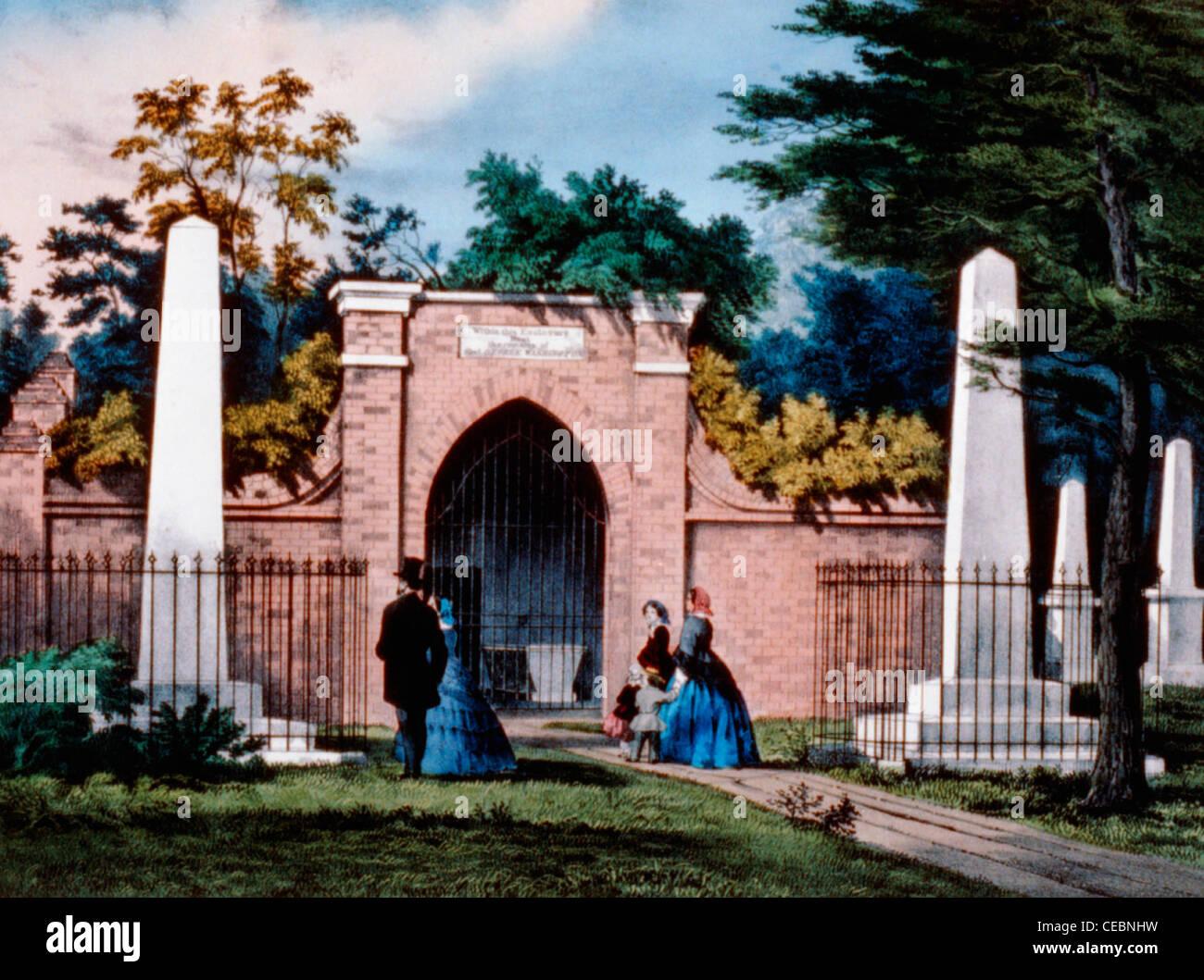 La tomba di George Washington, Mount Vernon, Virginia, circa 1880 Immagini Stock