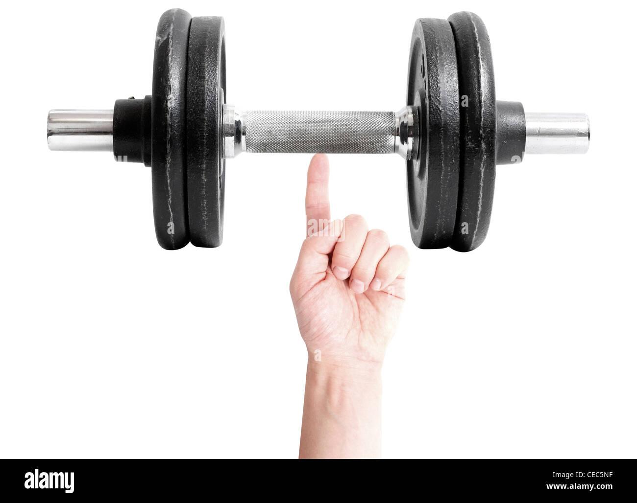 Un uomo forte sollevamento pesi con un dito Immagini Stock