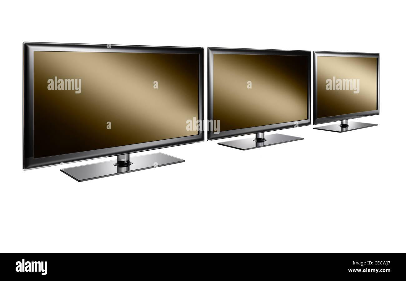 Tre televisioni in una riga Foto Stock