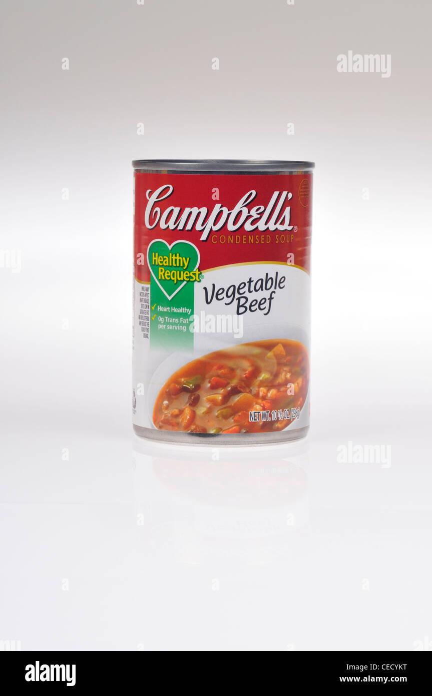 Non aperto di Campbells sano vegetali richiesta zuppa di manzo su sfondo bianco isolare NEGLI STATI UNITI. Immagini Stock