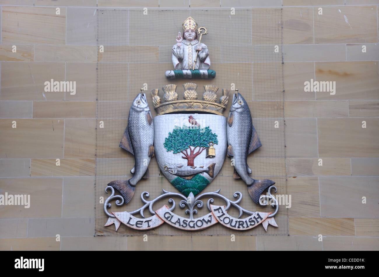 Il Glasgow stemma, 'Far fiorire di Glasgow' sulla parete del Glasgow Royal Concert Hall Immagini Stock