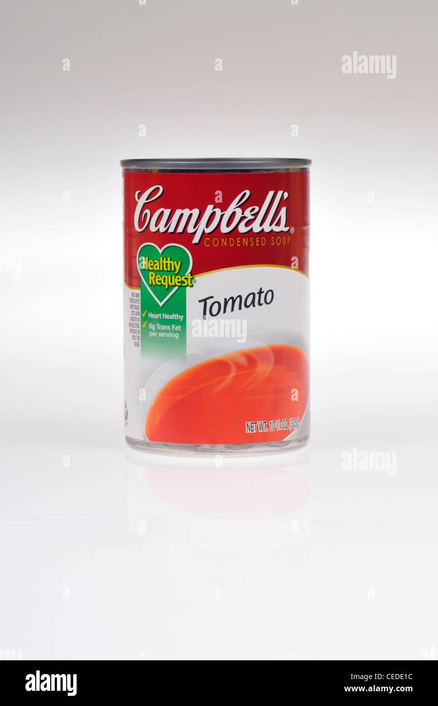 Non aperto di Campbells richiesta sana minestra di pomodoro su sfondo bianco isolare NEGLI STATI UNITI. Immagini Stock