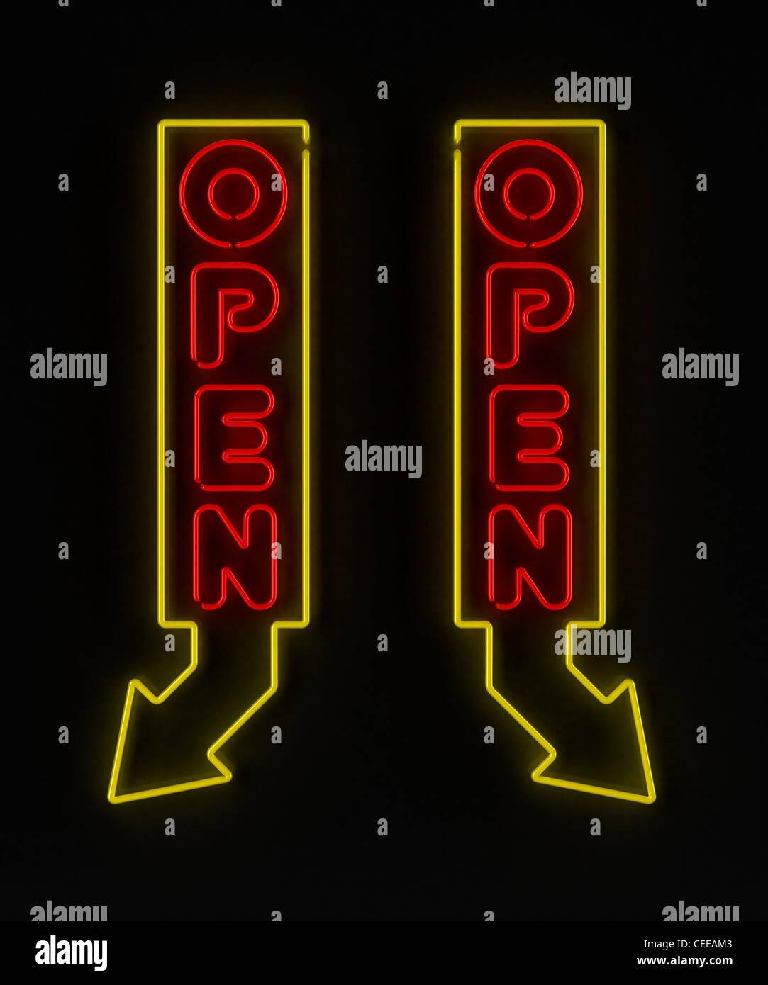 Insegna al neon con freccia Immagini Stock